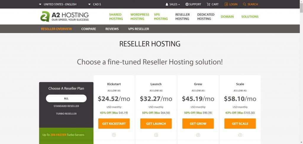 A2 Hosting Reseller Plans